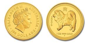 Австралийская золотая весовая монета с изображением ретривера