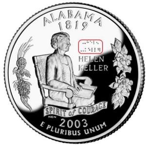 Монета с шрифтом Брайля