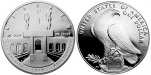 Однодолларовая серебряная монета, выпущенная США в 1984 году в честь Олимпийских игр в Лос-Анджелесе.